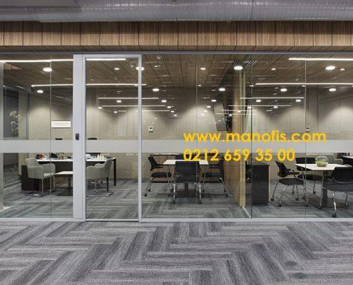 Tek camlı cam cama ofis bölme profili 4 cm
